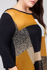 Yellow | Curve Abstract Check Knit Jumper