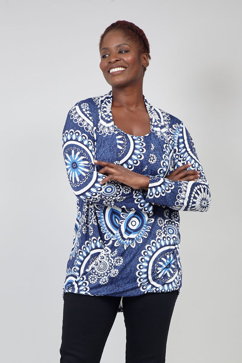 Blue | Curve Eastern Print Wrap Front Top