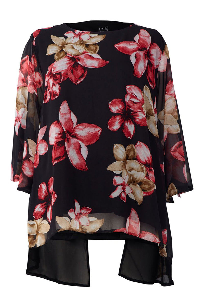 Red | Curve Floral Sheer Overlay Blouse