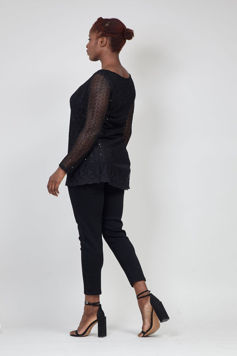 Black | Curve Lace Trim Jumper