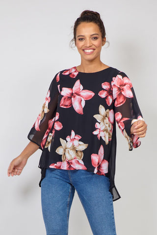 Floral Zip Neck Jumper