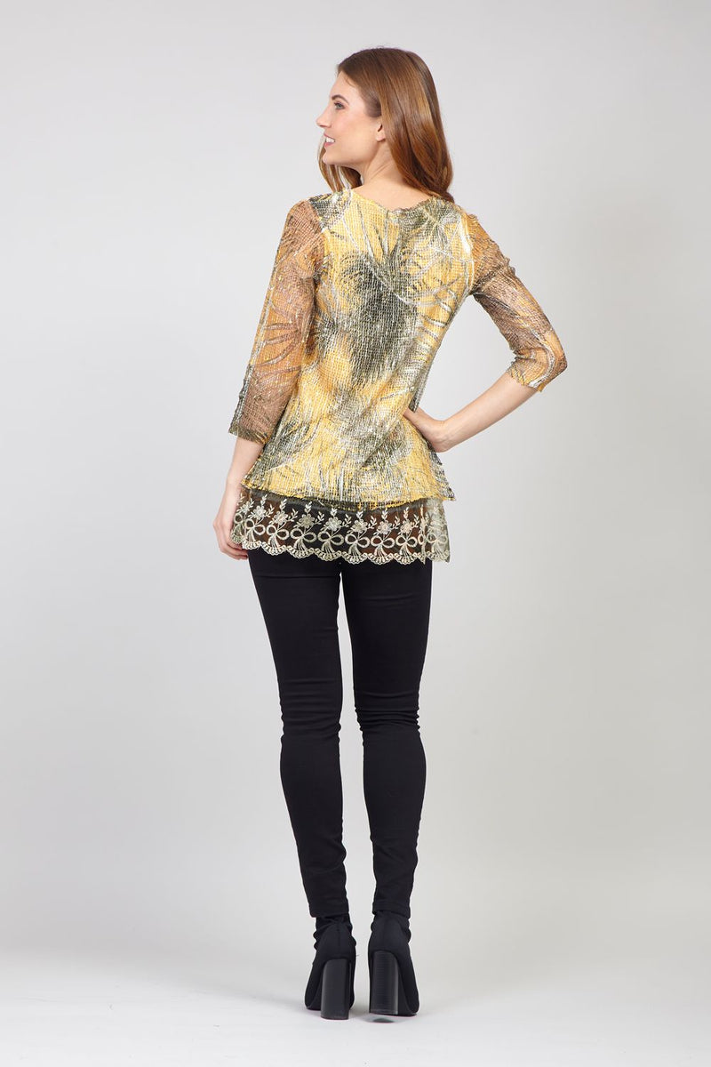 Mustard | Tropical Print Lace Top