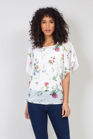 Tropical Print Lace Top