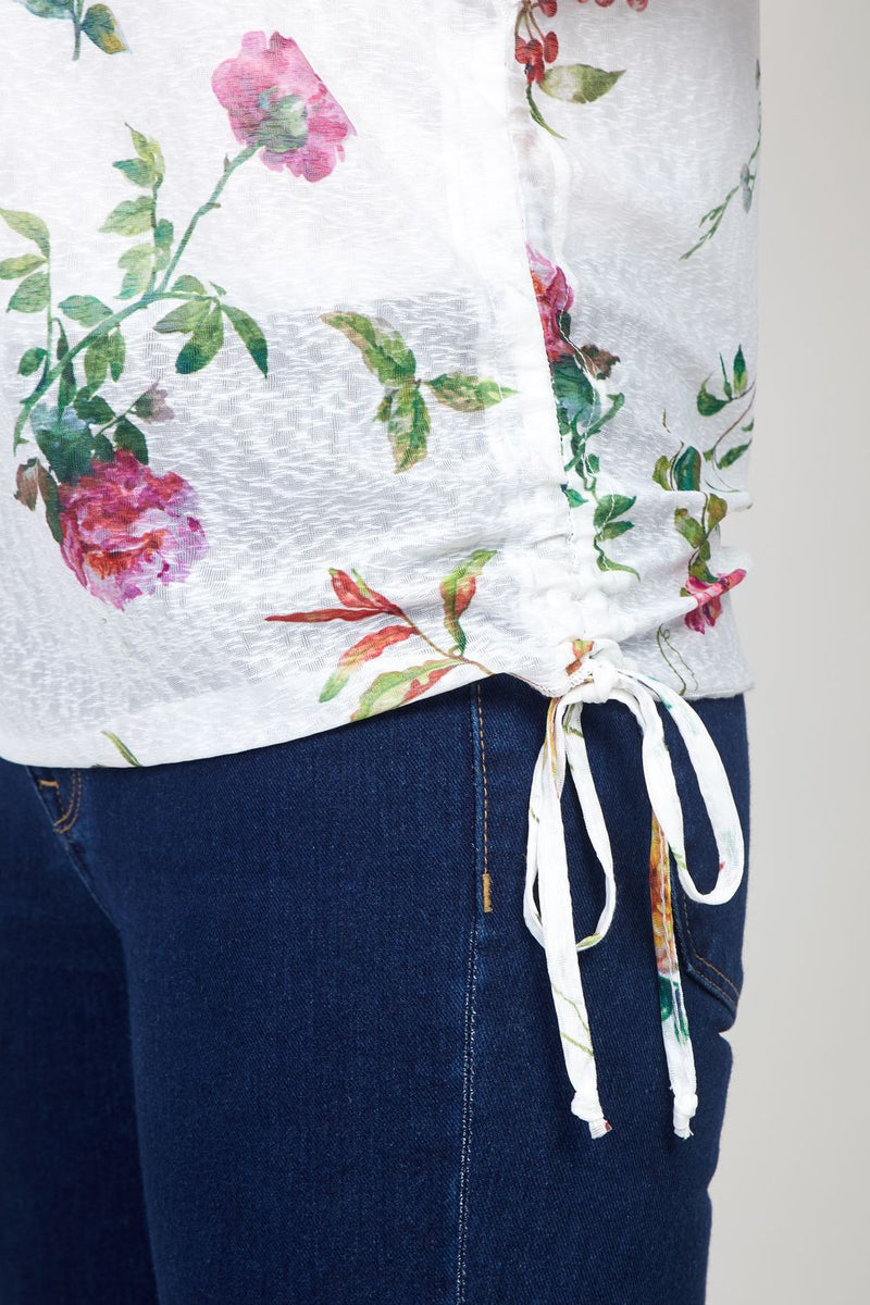 White | Floral Bloom Tie Side T-Shirt