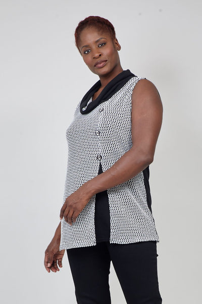 Black | Curve Geo Knit Tunic Top