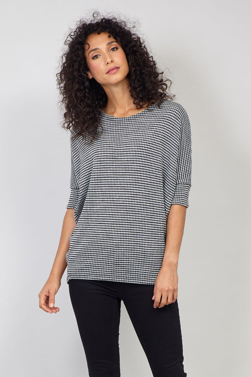Black And White | Micro Check Print Boxy Jumper