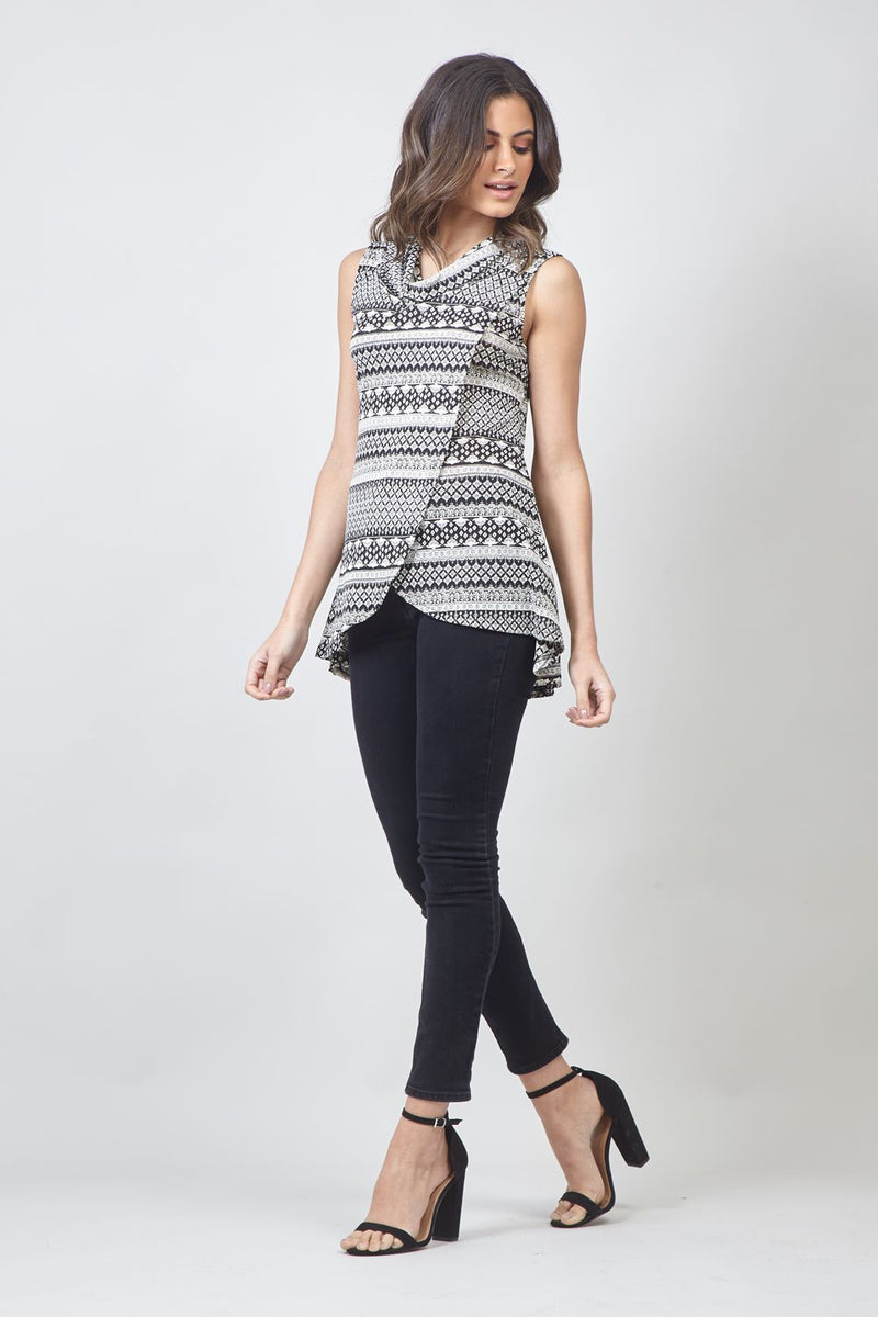 Black | Tribal Print Wrap Front Top