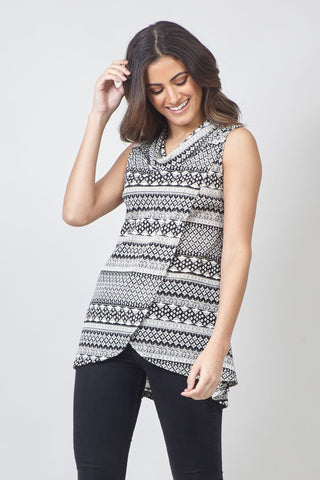 Curve Aztec Layered Hem Top