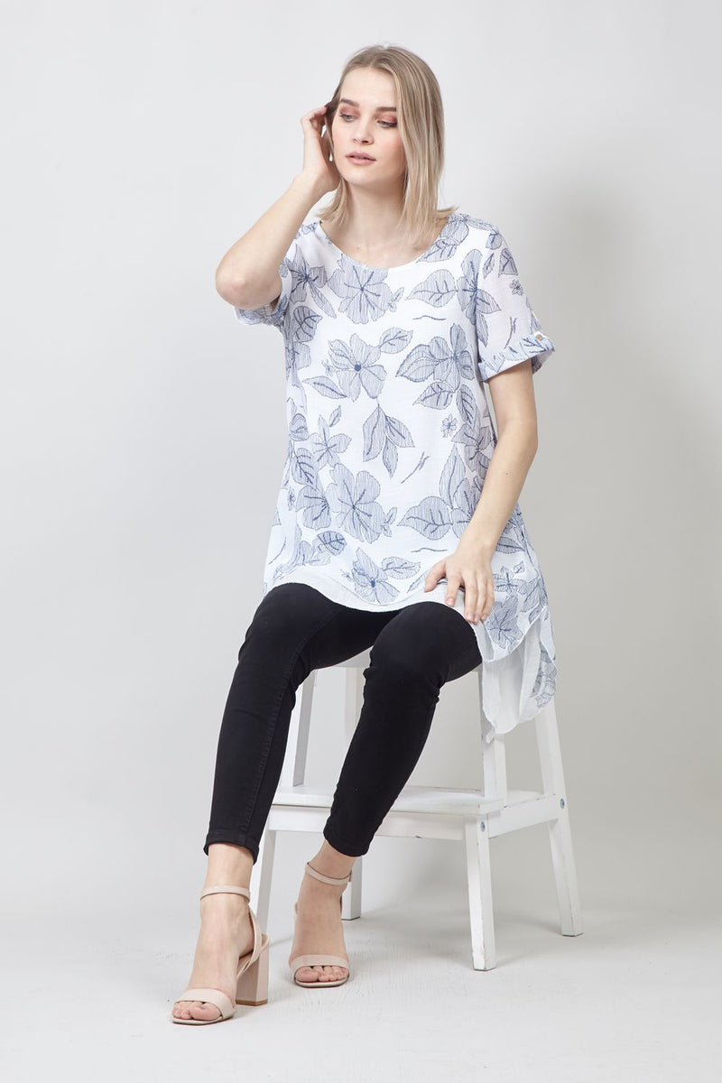 Blue | Floral Layered Hem Tunic Top