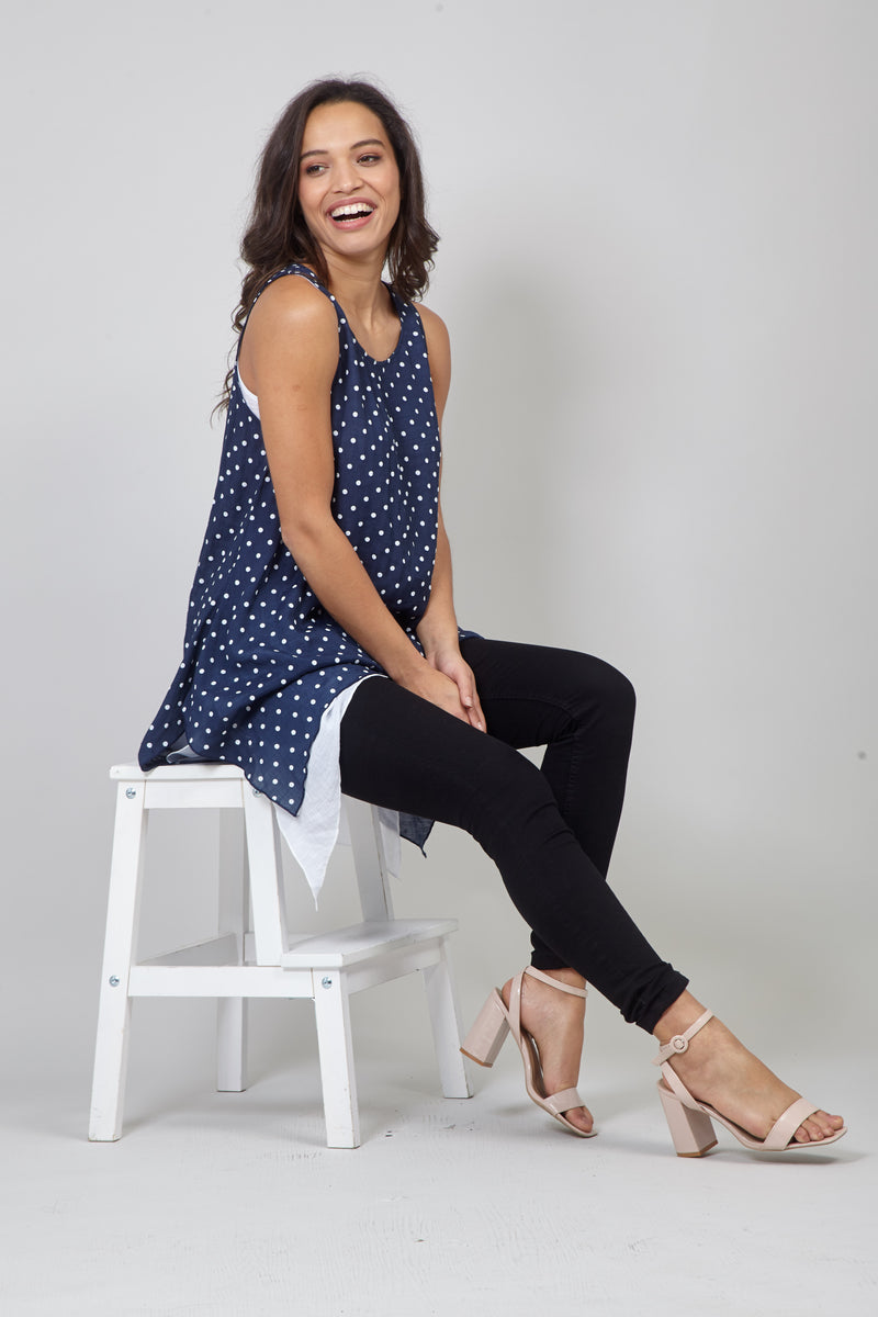 Navy | Polka Dot Layered Hanky Hem Tunic