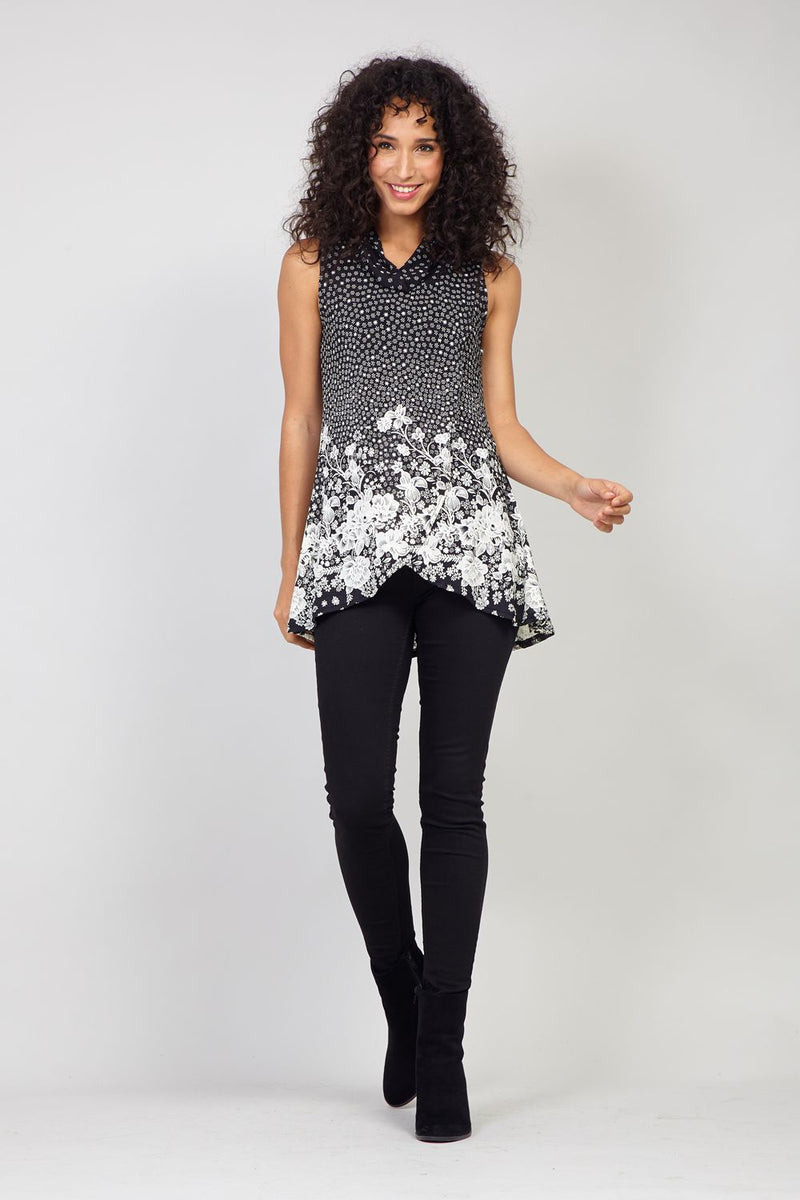 Black | Ditsy Floral Cross Front Tunic Top