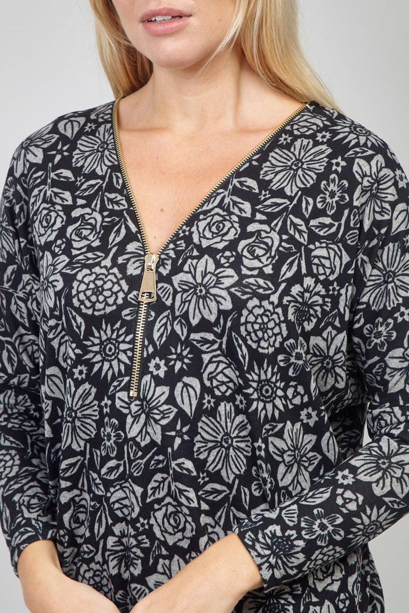 Black | Floral Zip Neck Jumper