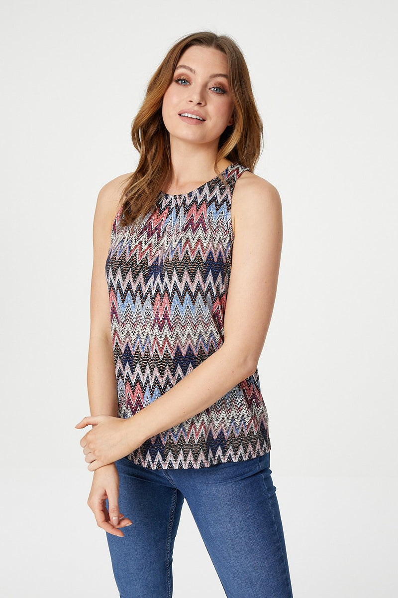 Navy | Chevron Print Vest Top