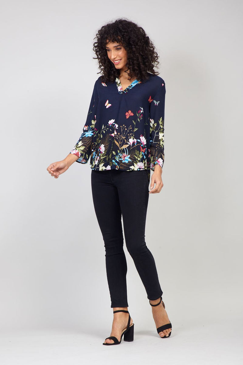 Navy | Butterfly Print Collarless Shirt