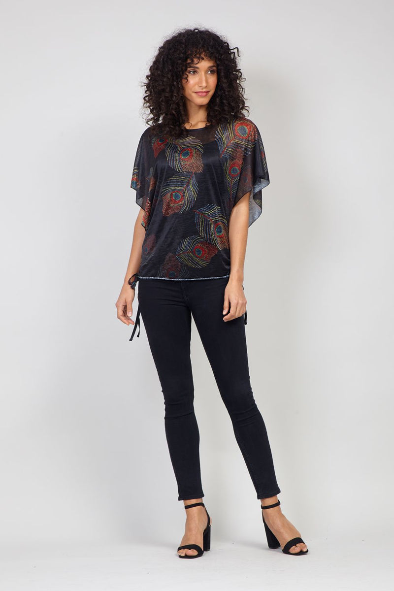 Black | Feather Print Batwing T-Shirt