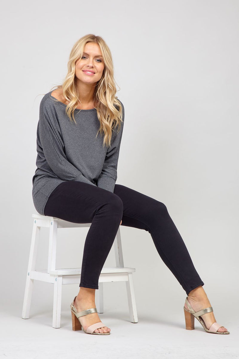 Grey | Ruched Waist Jumper