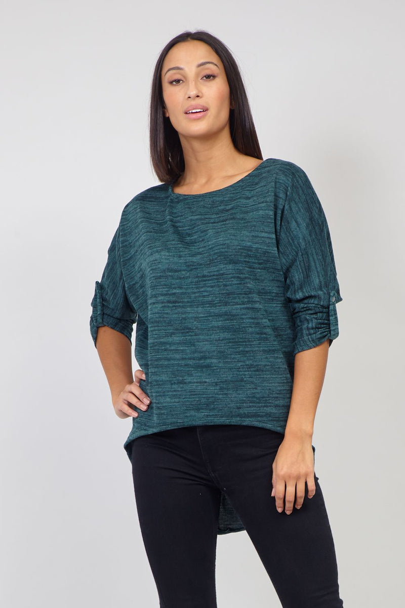 Green | Curve Hem Knit Top