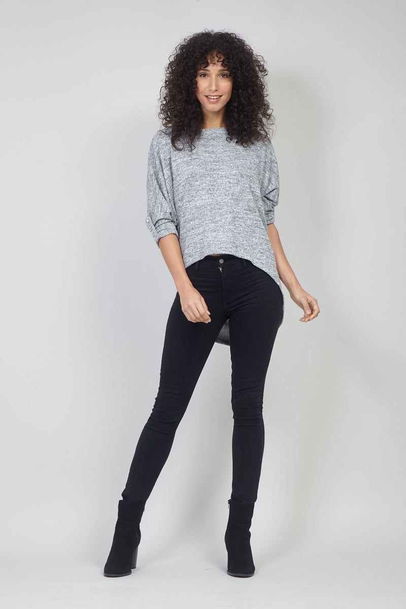 Grey | Curve Hem Knit Top