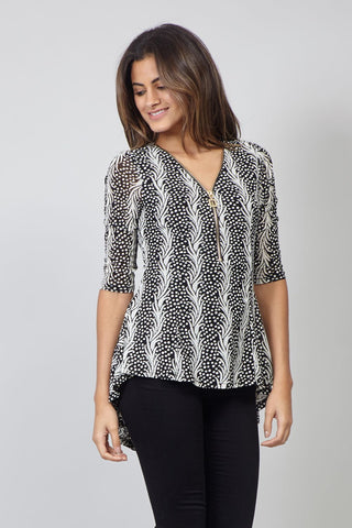Chevron Print Batwing Top With Oversized Zip