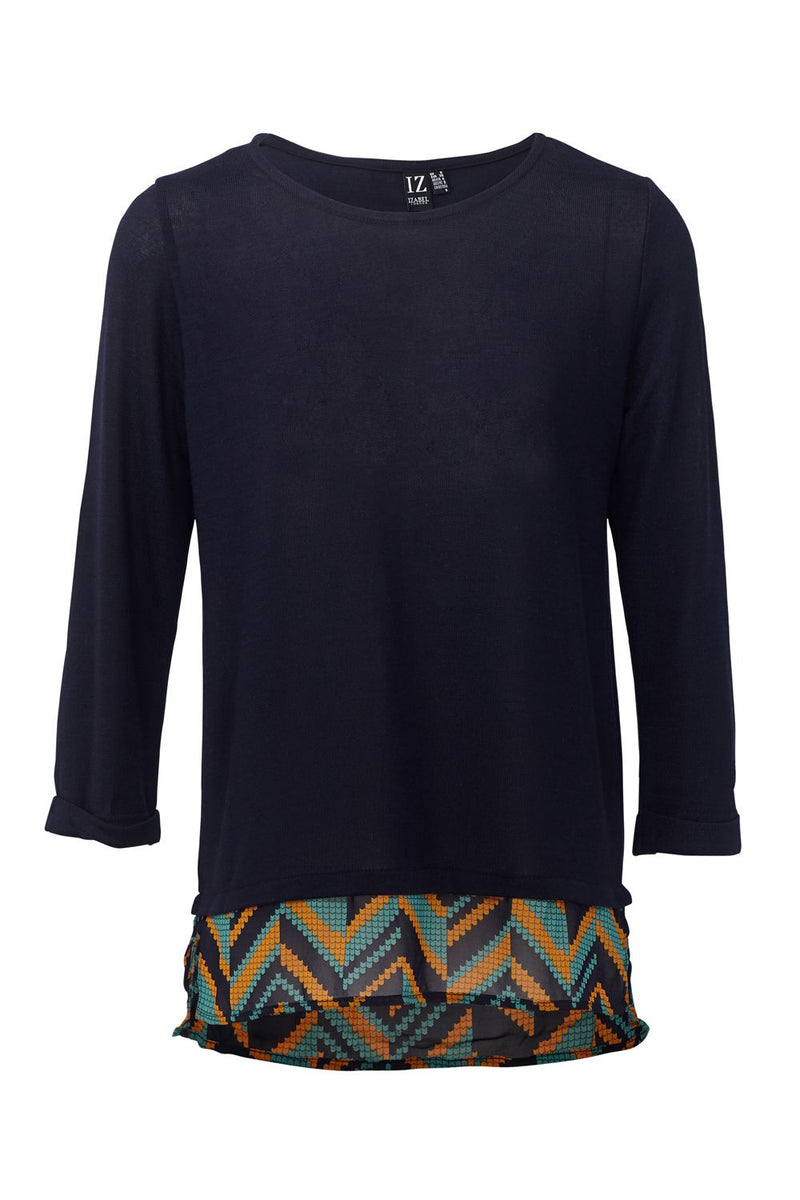 Navy | Aztec Print Layered Hem Top