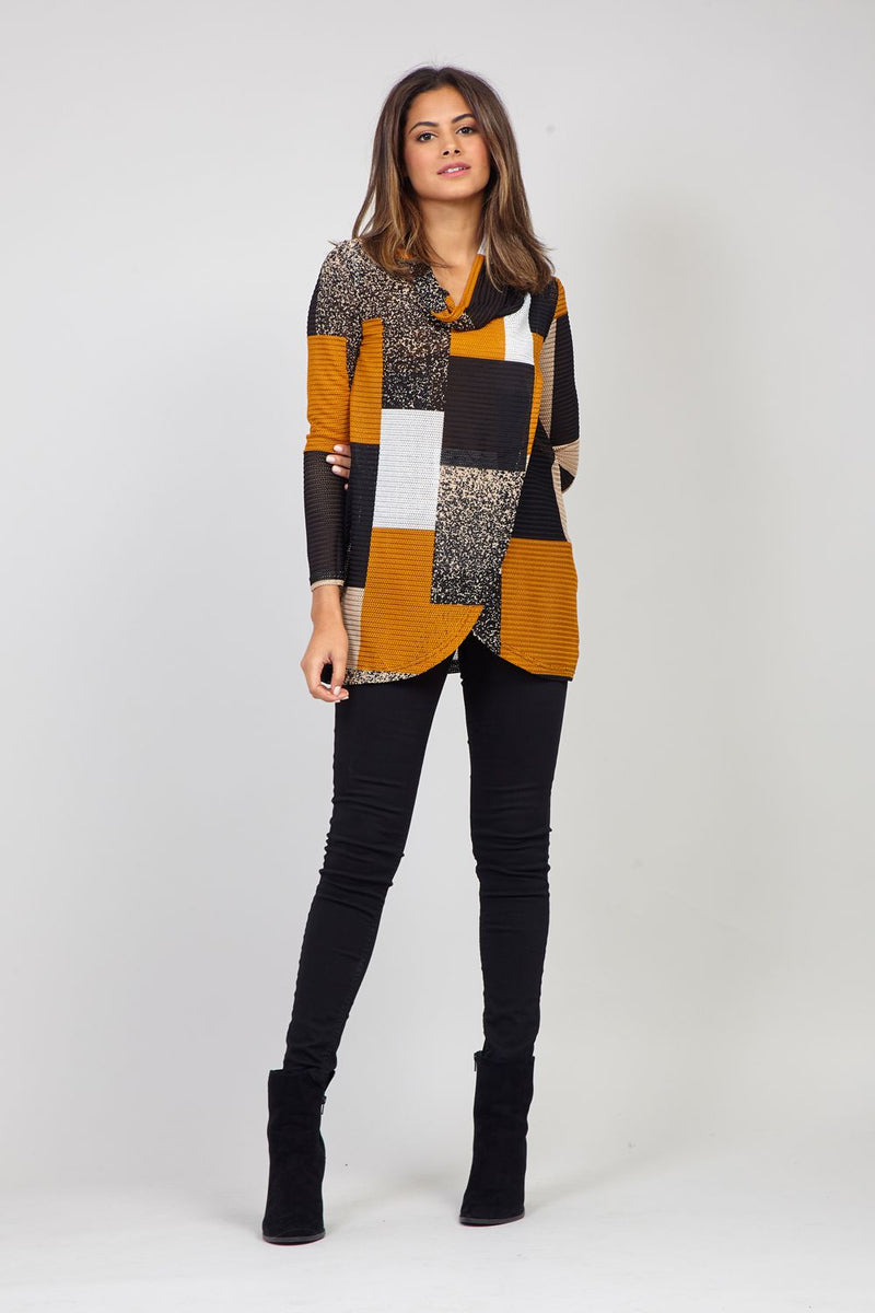 Mustard | Patchwork Chunky Knit Top