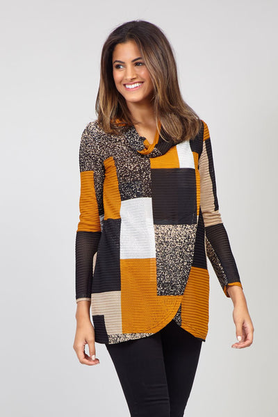 Yellow | Patchwork Chunky Knit Top