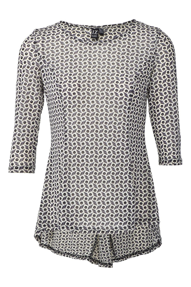 Grey | Geo Print Peplum Flared Top