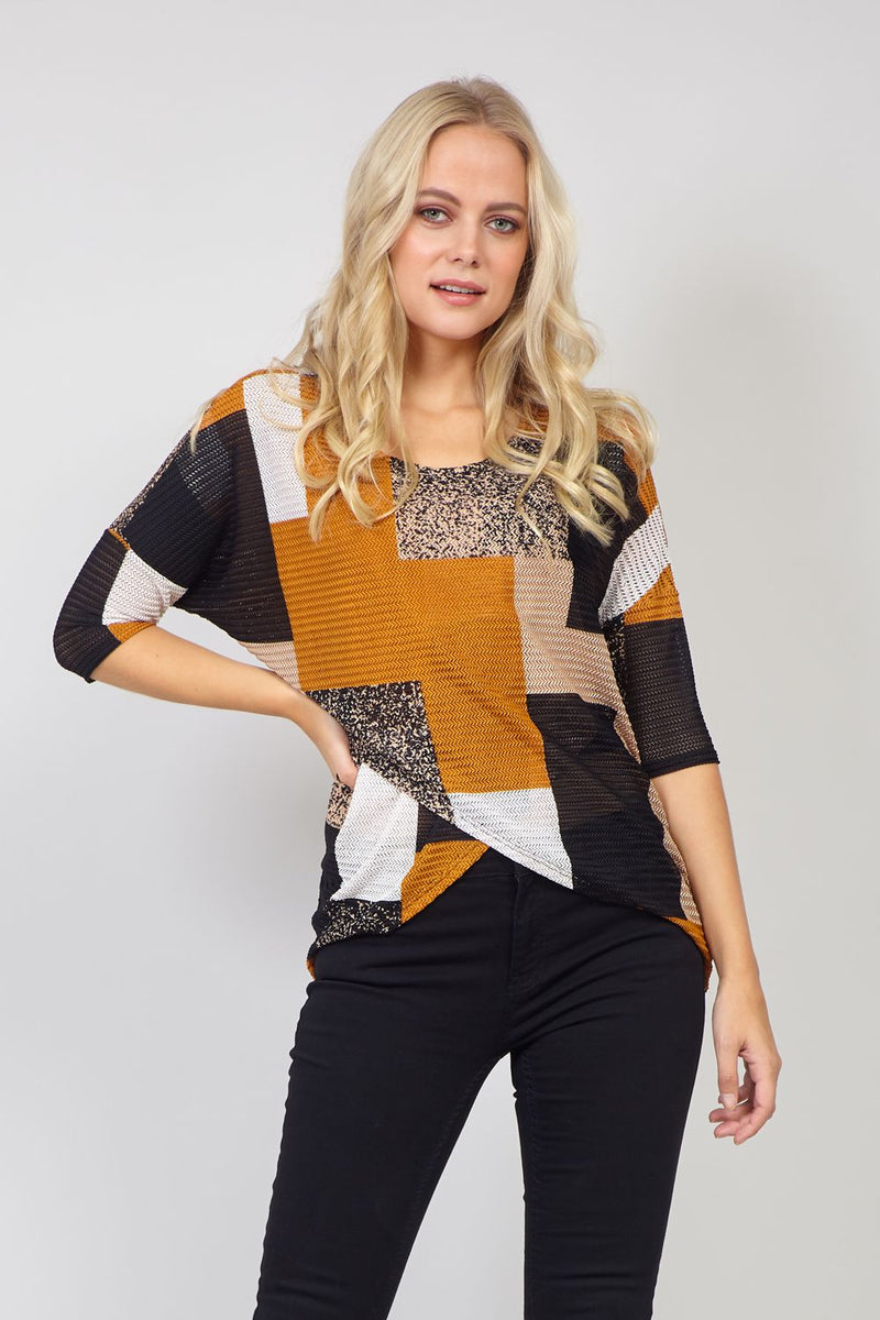 Mustard | Colour Block Wrap Front Jumper