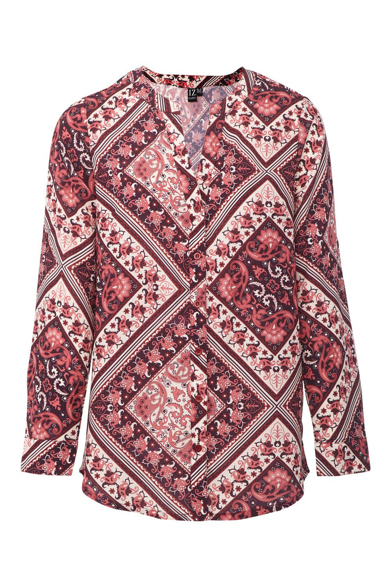 Scarf Print Collarless Blouse | Red