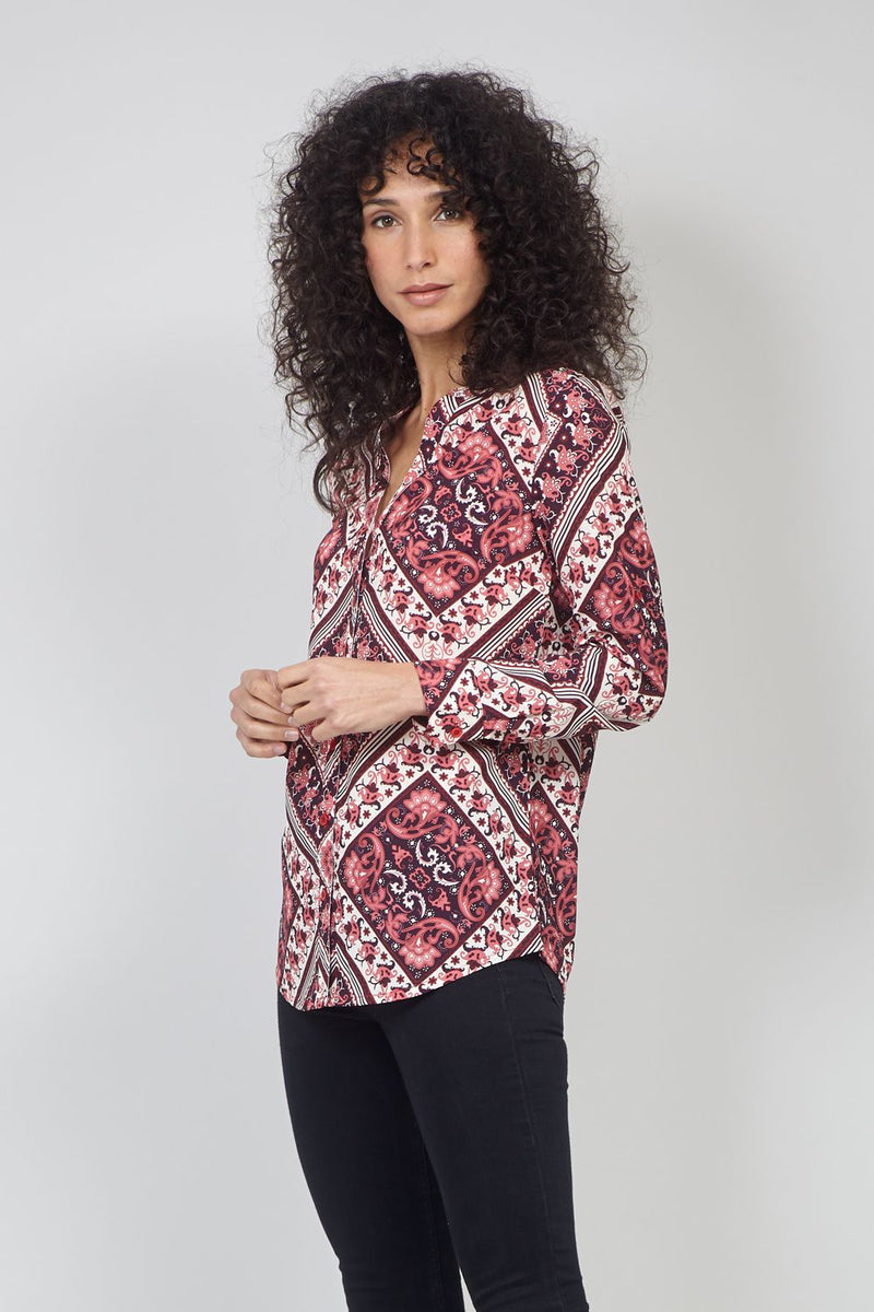 Red | Scarf Print Collarless Blouse