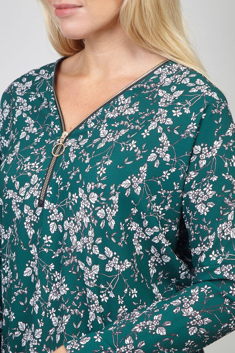 Green | Ditsy Floral Zip Front Jumper