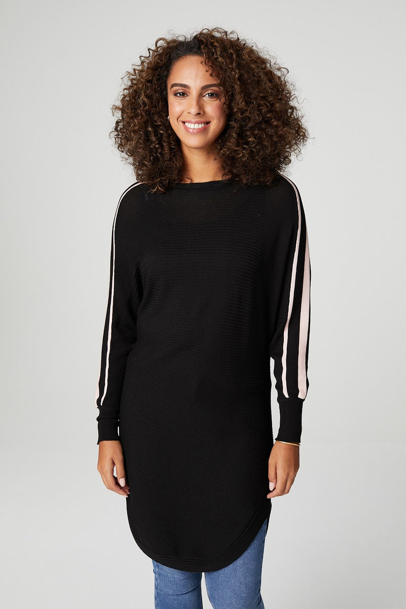 Black | Side Stripe Long Sleeve Sweater