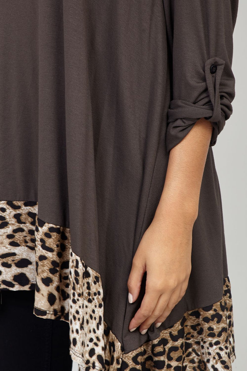 Brown | Animal Print Oversized Tunic Top