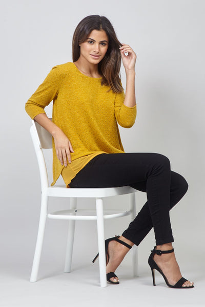 Yellow | Polka Dot Layered Hem Jumper