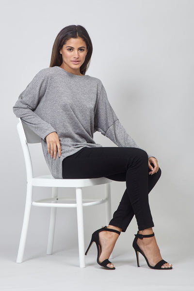 Grey | Polka Dot Ruched Sides Jumper