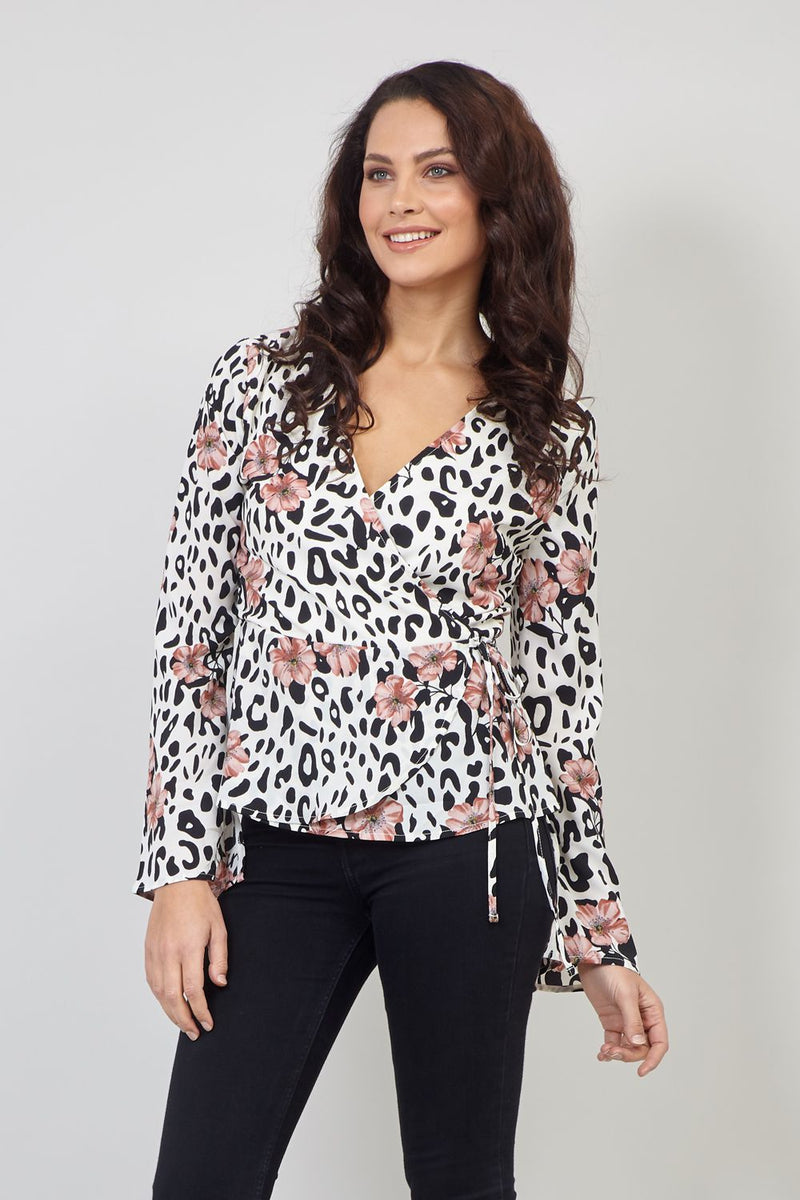 White | Animal & Floral Print Wrap Front Top