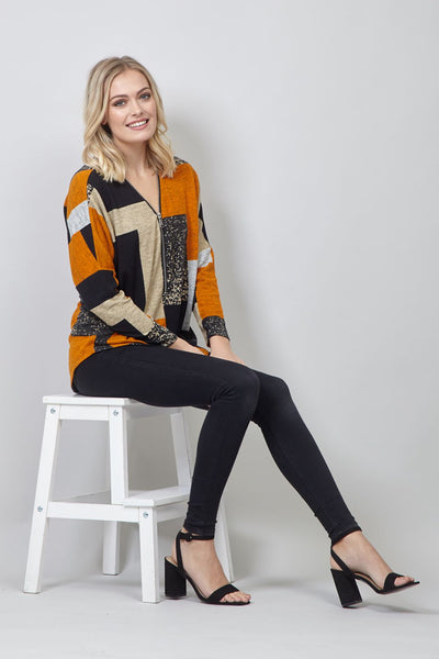 Yellow | Colour Block Zip Front Jumper