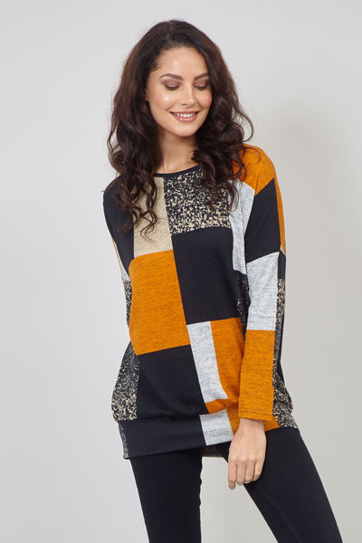 Colour Block Slouchy Jumper | Yellow