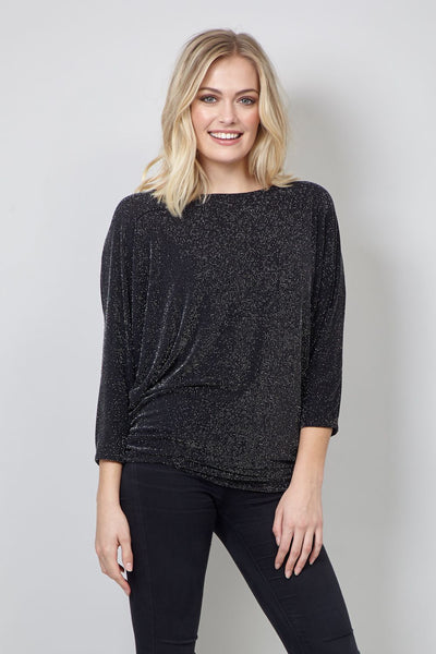 Black | Metallic Batwing Top