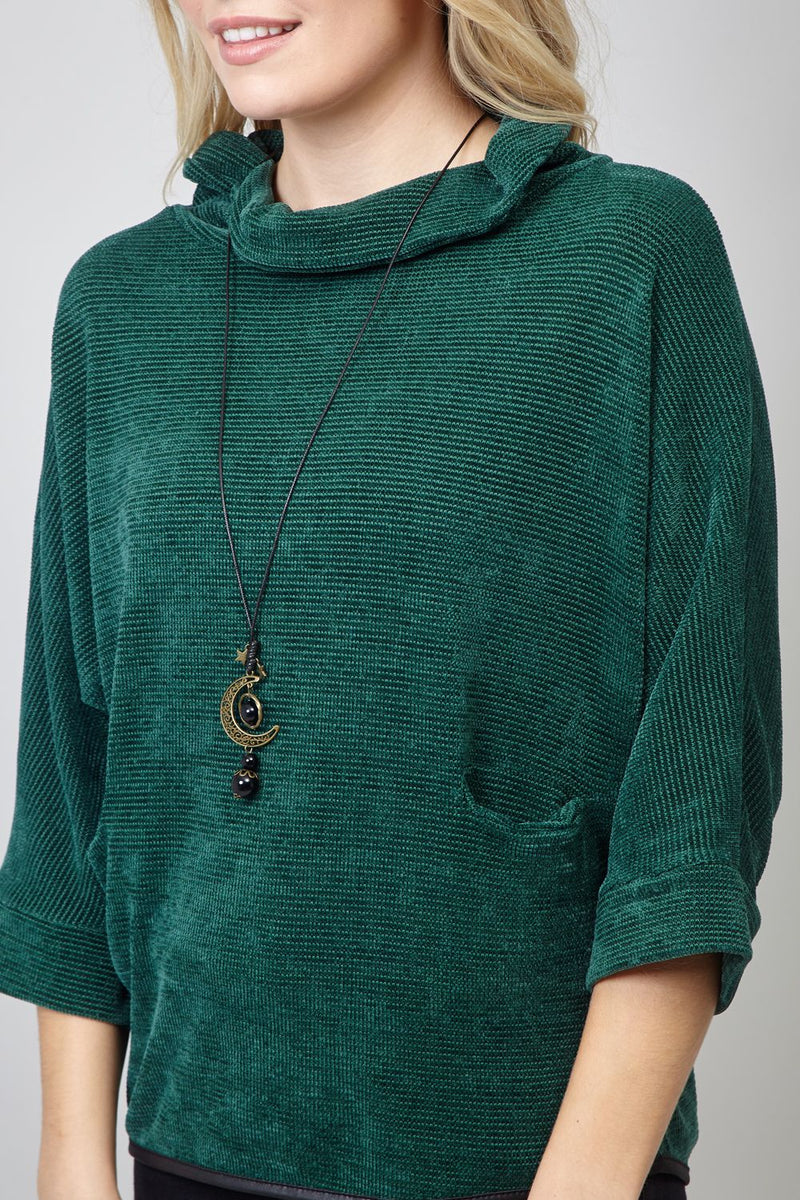 Green | Roll Neck Top with Necklace