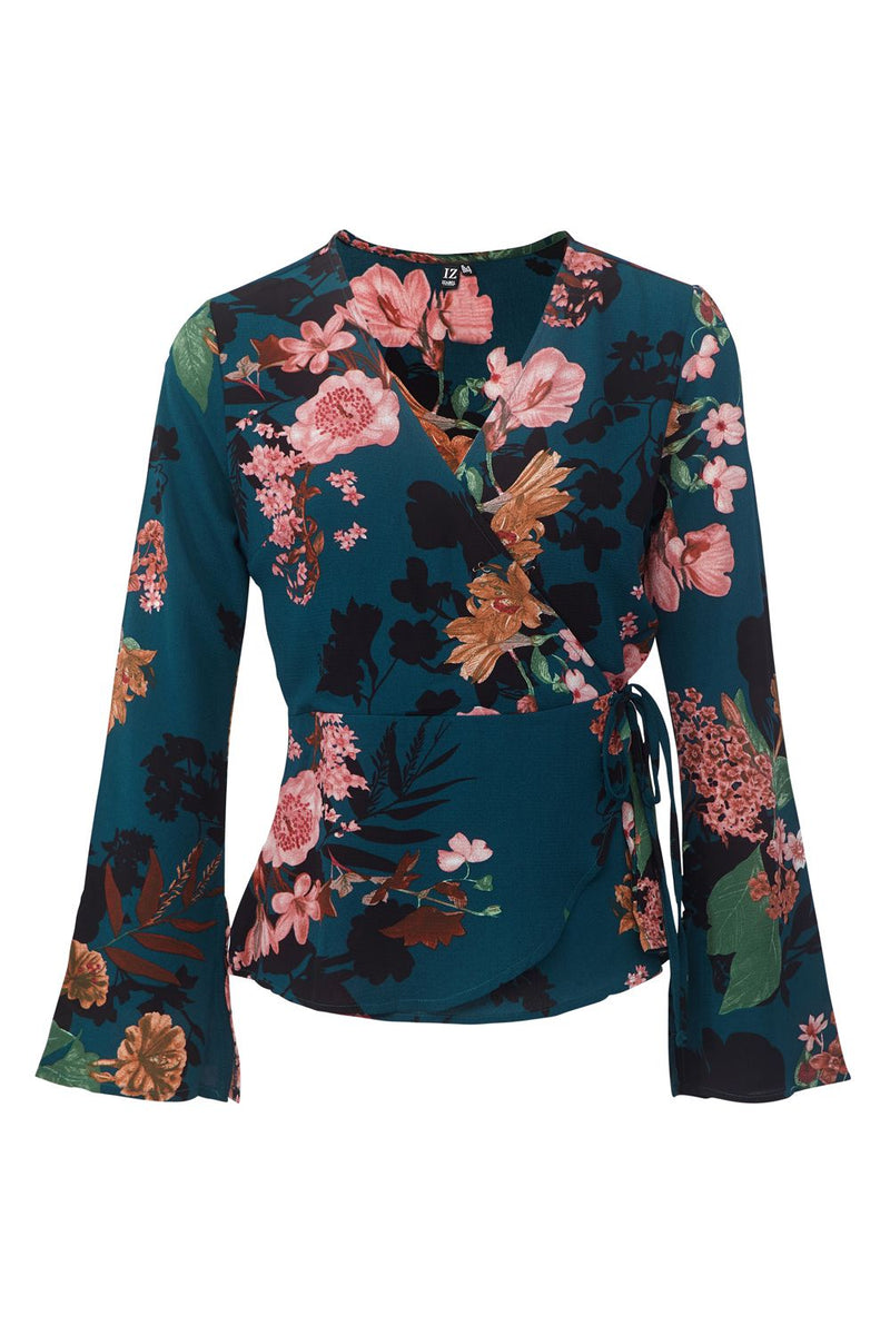 Teal | Floral Wrap Front Top