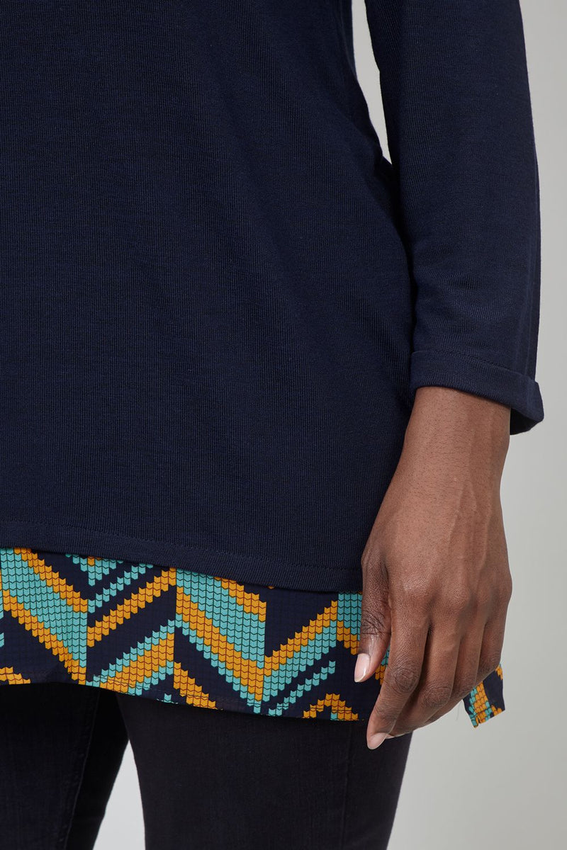 Navy | Curve Aztec Layered Hem Top