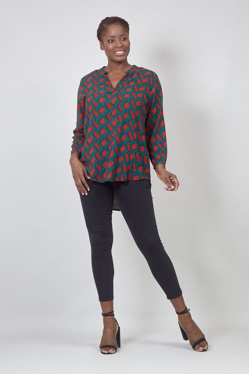 Green | Curve Retro Print Collarless Blouse