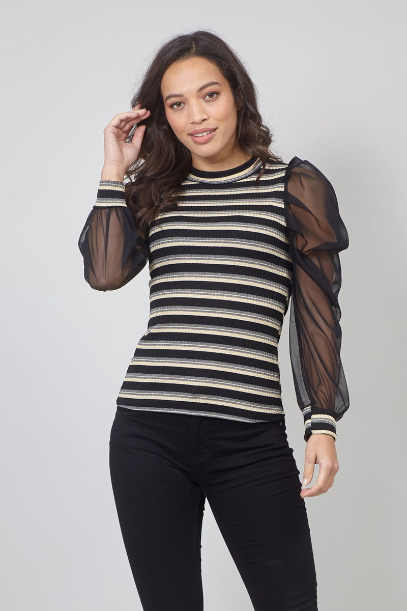 Black | Striped Sheer Puff Sleeve Blouse
