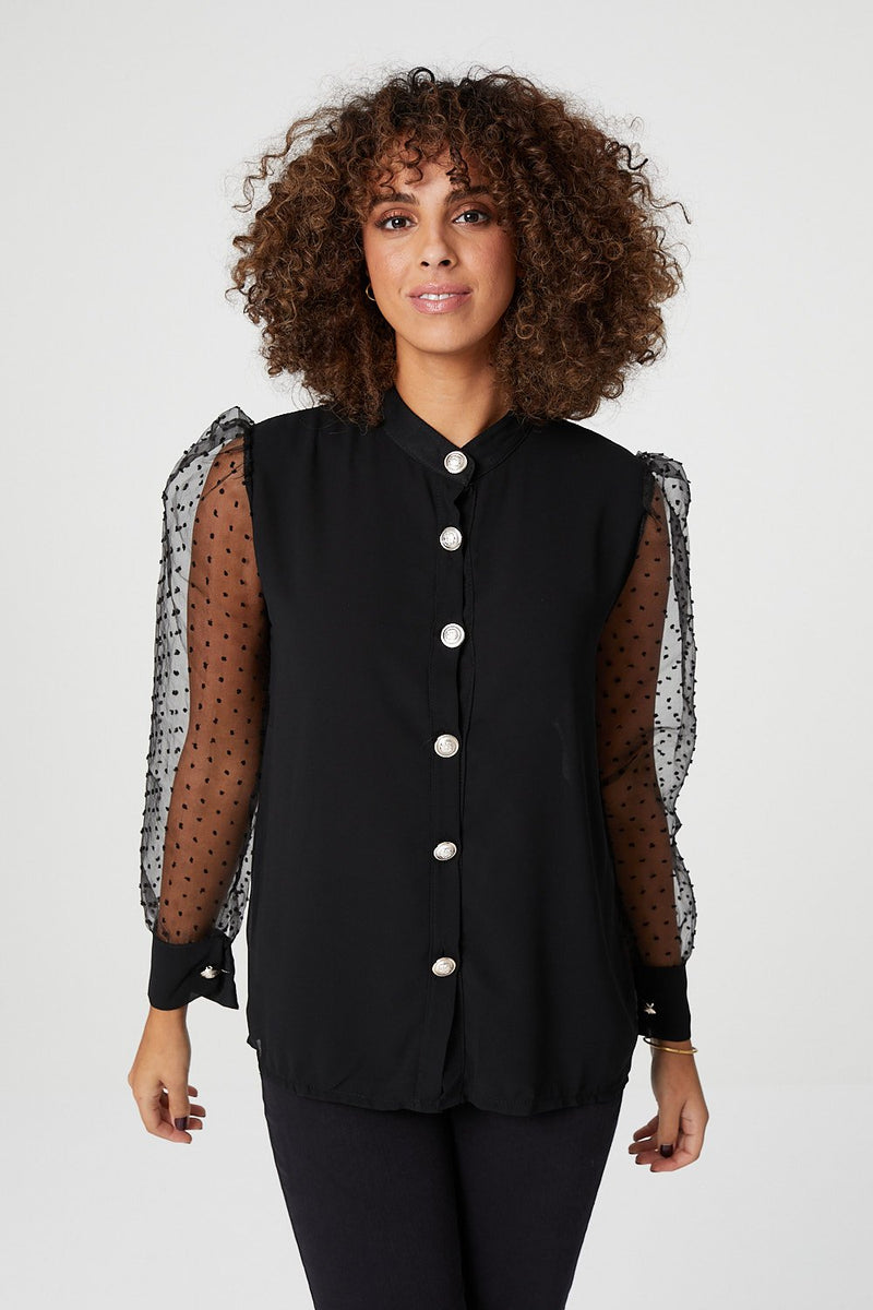 Black | Sheer Puff Sleeve Shirt