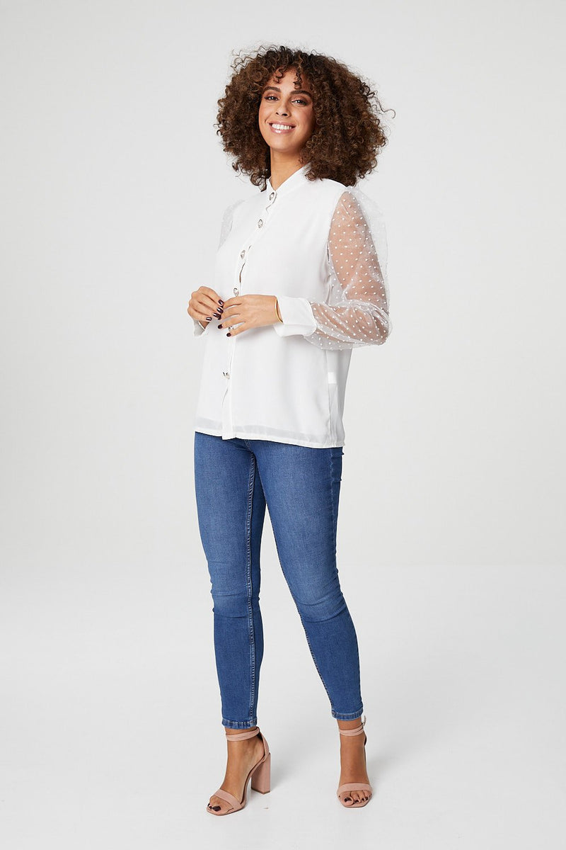 White | Sheer Puff Sleeve Shirt