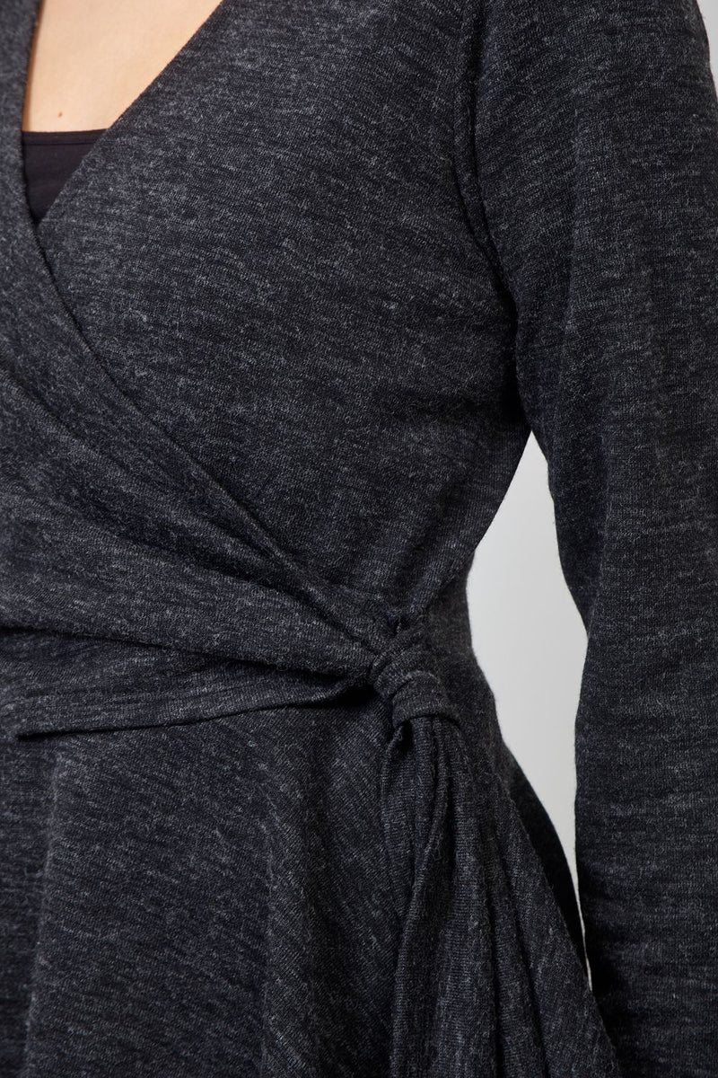 Grey | Peplum Wrap Front Top