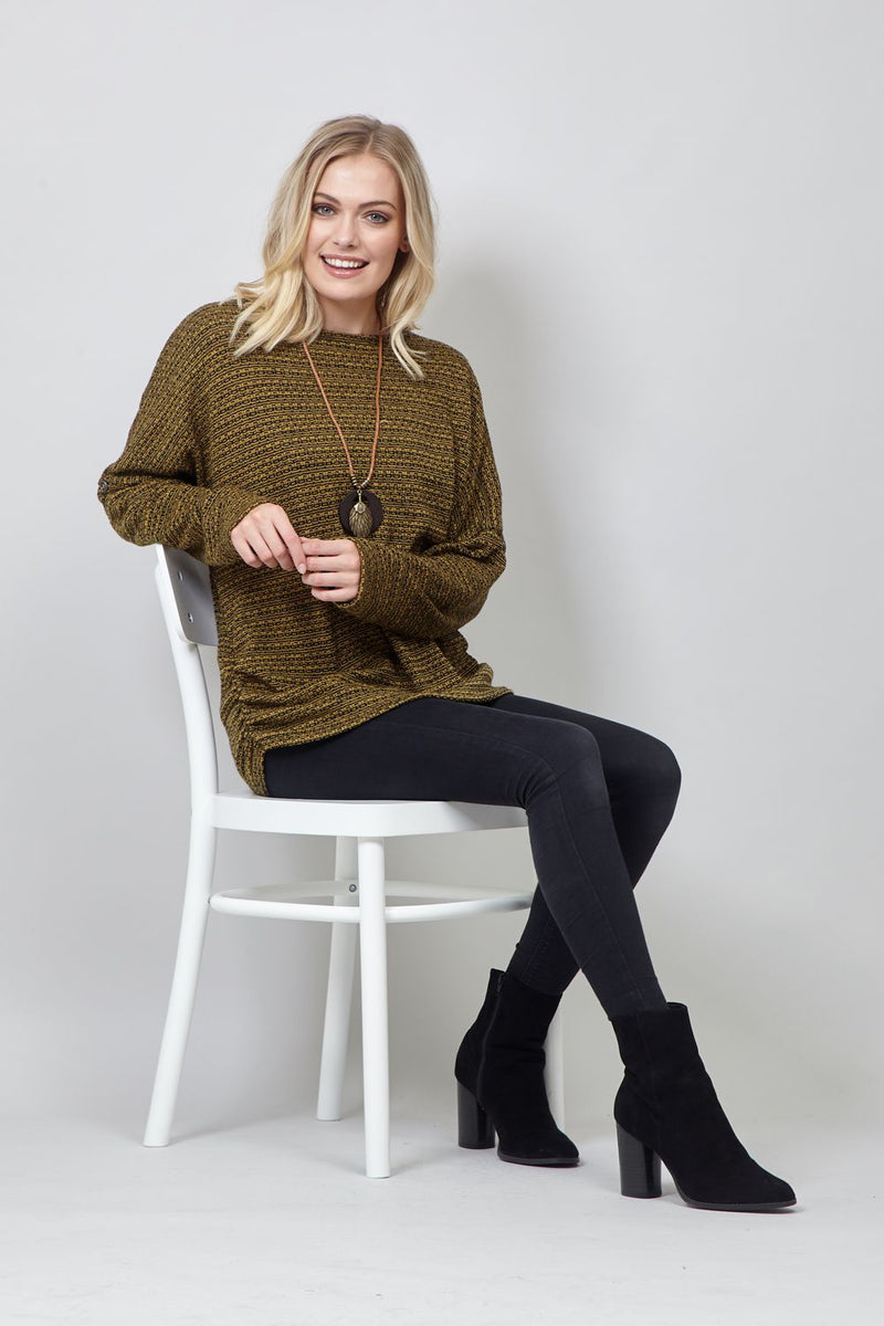 Mustard | Ribbed Jumper with Necklace