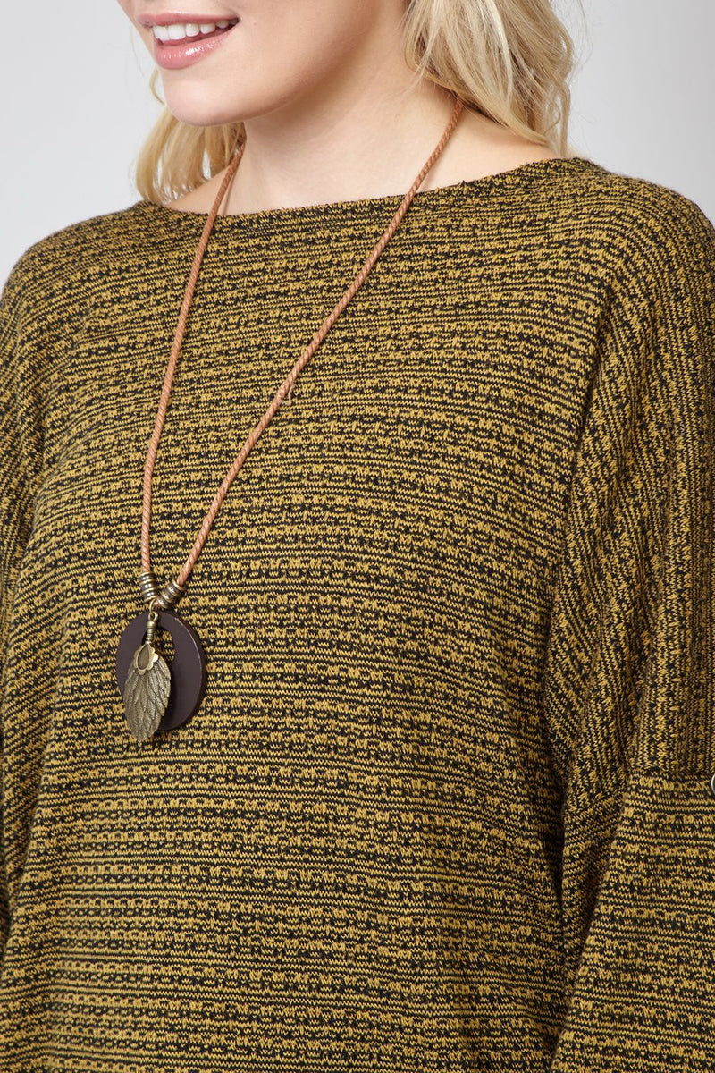 Yellow | Ribbed Jumper with Necklace