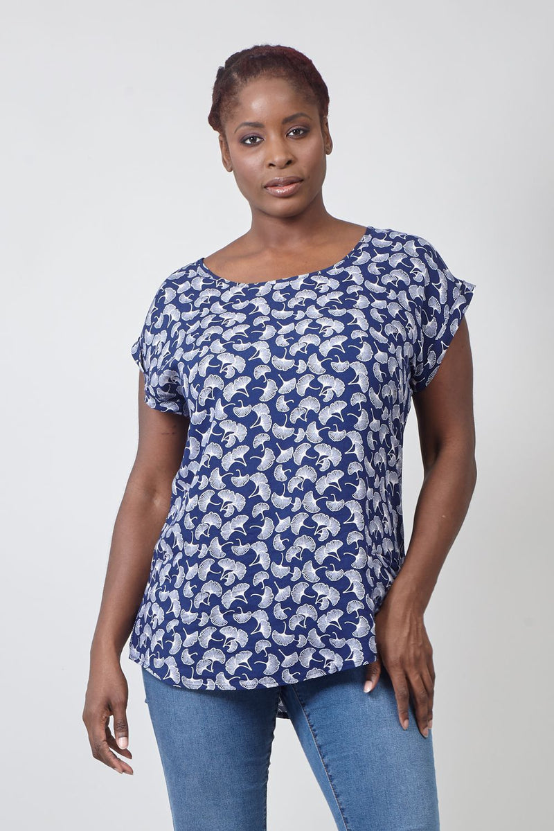 Navy | Ditsy Printed Curved Hem T-Shirt